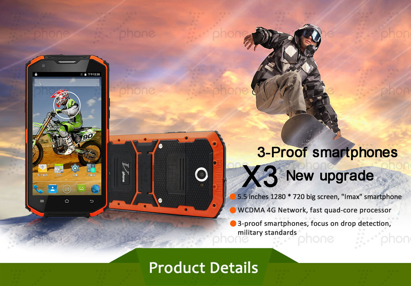Vphone X3 ip68 waterproof rugged smartphone
